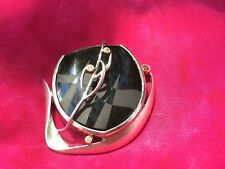 Sterling Silver black onyx with dimonds pendant