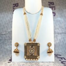 Traditional Indian Pearl Mala necklace Jhumka kundan Style Bollywood Set
