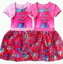 New Trolls Kids Girls Short Sleeve Princess Dress Casual Party Cosplay Custume
