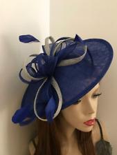 Hatinator Cobalt Royal Blue Silver Saucer Hat Wedding Formal Disc Fascinator