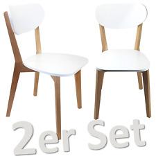 2er Set Küchenstuhl SKANDI Holz Buche, Lack Weiß Esszimmerstuhl Stuhl Massivholz