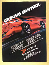 1985 Yokohama Tires red corvette art vintage print Ad