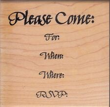 "invitation ann-ticipations Wood Mounted Rubber Stamp 3x 3""  Free Shipping"