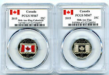 2015 CANADA 25 CENT 50TH ANNIVERSARY FLAG PCGS MS67 TWO COIN SET FLAG LABEL