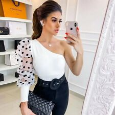 2020 Spring Women Sexy Mesh Tshirt Summer Pullover Top Tees One Shoulder Polka D
