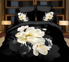 3 tlg.3D Effekt Bettwäsche Bettbezug Bettgarnitur 155x200 cm Schwarz Orchidee