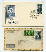 BOLIVIA LOT OF 4  JOHN KENNEDY MEMORIAL FIRST DAY COVERS, STAMPS COMMERCIAL COV