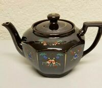 Vintage Brown Glazed Teapot With Hand Painted Floral Design, Made In Japan