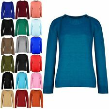 Womens Ladies 4 Button Knitted Round Cable Neck Long Sleeve Sweater Jumper Top