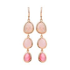 Statement Pink Colorful Stone Geometric Crystal Earrings Drop Dangle Long
