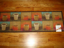 LARGE Kitchen Runner RUG 20 x 60 COFFEE Tea CUPS Mugs SQUARES MOCHA Espresso!