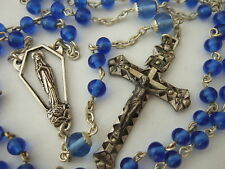 Vintage Catholic Rosary Sapphire Blue Glass Beads nice Crucifix & medal France