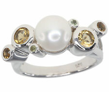 Round Pearl Cocktail Sterling Silver Fine Rings
