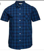 46#  kangaroo poo mens yarn dyed checked short sleeve shirt RRP £26.99 SIZE XXL