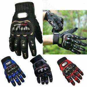 Carbon Fiber Hard Knuckle All Touchscreen Biker Motorbike Motorcycle Gloves L-XL
