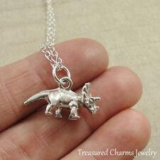 Silver Triceratops Dinosaur Charm Necklace - Prehistoric Dino Pendant Jewelry