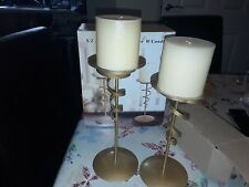 S/2 Metal Ribbon Candle Holders W/Candles