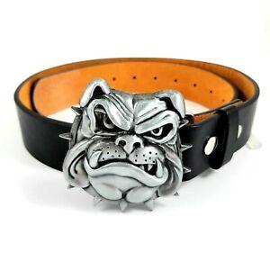British Bulldog Belt & Buckle Biker Metal Gothic Dog Leash Outlaw Punk Uk Seller