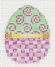 *NEW* Mini Easter Egg Pink Swirls HP Needlepoint Canvas Ornament Assoc.Talents