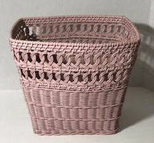 Vintage Pink Wicker Waste Paper Basket Shabby Chic Reticulated Bath Trash Can