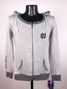 Women's Colosseum Notre Dame Fighting Irish Gray Full Zip Hooded Sweatshirt NWT