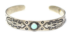 Antique Coin Silver IH Lizard Etched 10mm Arrow Turquoise Bangle Cuff Bracelet