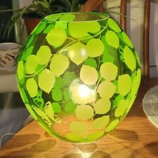 """Knubbig Ikea clear glass table lamp green leaf and butterfly pattern 8.25"""""""