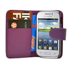 Lila Geldbörse Plain Leder Handy Tasche Samsung Galaxy Young GT S-S6310L S6310N