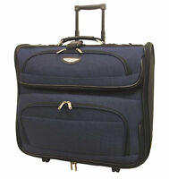 "Traveler Choice Amsterdam 23"" Navy Blue Upright Wheel Rolling Garment Travel Bag"