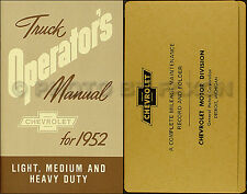 1952 Chevrolet Pickup and Truck Owners Manual with Envelope 52 Chevy Owner Guide