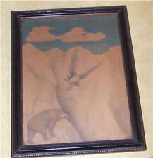 VTG SIGNED FOLK ART EAGLE BEAR MOUNTAIN SIERRA COLORED PENCIL DRAWING OLD DOLEN