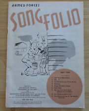 Armed Forces Song Folio July 1953 Contains 9 songs