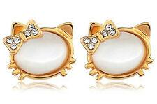 Beautiful White Opal Imitation Gold Tone Kitty Studs Earrings E392
