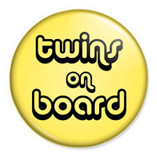 """Twins On Board 25mm 1"""" Pin Button Badge Pregnancy Maternity Paternity Baby"""