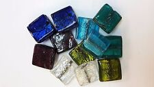 10 Large Silver Foil Glass Lampwork Flat Square Tile Beads approx 30x30mm