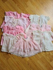 Bundle Vintage Baby Girl Dress Age 0-3 Months. Short arm. Pink & white