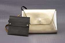 NWD$1795 Brunello Cucinelli Mirrored Leather Mini Logo Envelope Bag W/Pouch A176