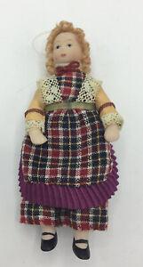 Dolls House Girl In Check Dress - 11.75 cm