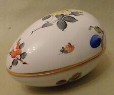 HEREND China FRUITS NECKER Flowers Vintage Porcelain BONBON Huge EGG TRINKET BOX