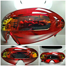 SPACE ROBOT PARTY RAVE COSTUME CYCLOPS FUTURISTIC SHIELD SUN GLASSES Crystal Red