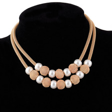 Pearl Pendant Choker Statement Chain Necklace Fashion Women Gold Mesh Net Beads