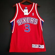 100% Authentic Allen Iverson Champion 76ers NBA Jersey Size Mens 44 M L hwf