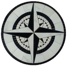 Floor Medallion Marble Round Mosaic Nautical Compass White Carrara 30 inch