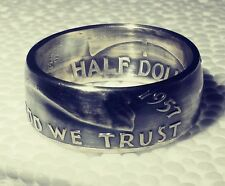 """1953 Sizes 8 - 15 Silver half dollar coin ring """" In God we trust """" """"Liberty"""""""