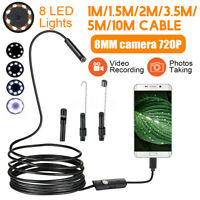 8mm Waterproof USB Borescope Inspection Endoscope Camera For Android Phone New