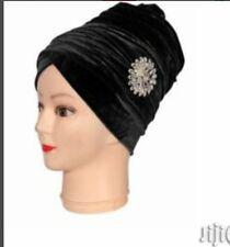 Black Women velvet Turban headwraps single wrap with brooche