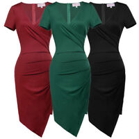 office dress knee length cocktail party formal evening retro solid short sleeve