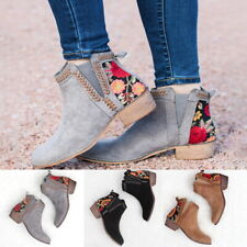 Retro Women's Ankle Boot Low Heel Embroidered Short Booties Shoes Plus Size 2019