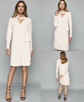REISS NEW Mirela Tie Neck Long Sleeve Shift Dress in Ivory Cream Sizes 4 to 16