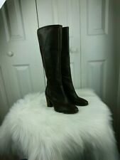 4M Vince Camuto VC Signature Framina Knee High Stacked Heel Leather Boots Brwn